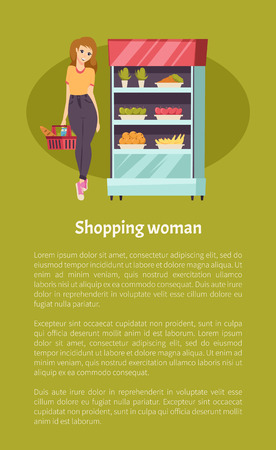 Shopping woman with basket and meal vector. Customer looking at vegetables and fruits in refrigerator at supermarket. Carrot and apples, bananas and orange