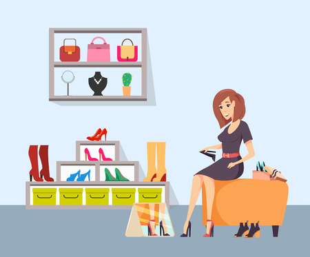 Female shopaholic trying on shoes at store vector. Woman sitting on chair and wearing heeled boots, looking in mirror. Handbags and jewelry on shelf