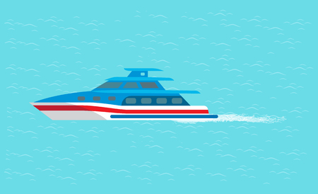 Coast guard transportation vehicle sailing in blue water vector illustration isolated. Guarding transport boat in deep ocean, rescue emergency sailboat