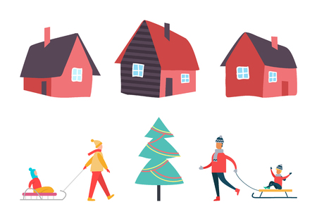 Winter activities people and houses set vector. Pine evergreen Christmas tree decorated with lights and garlands. Mother with kid on sledges family