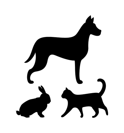 Dog Puppy, Cat and Bunny Silhouettes Icons Set