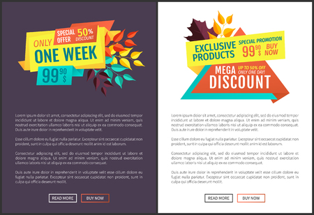 Exclusive offer sale discount only one week. Posters set ornate with fallen autumn leaves. Proposition shopping reduction and offers of stores vector