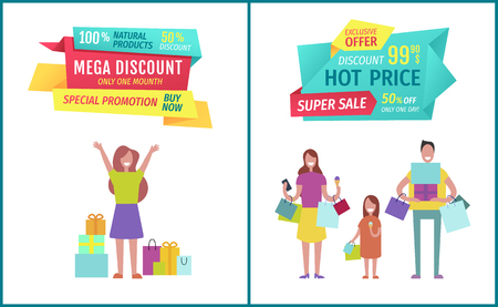 Mega discount posters . Lady with bought presents gifts raising hands. Family shopping and having time together eating ice cream. Clearance vector
