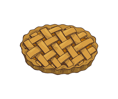 Thanksgiving food holiday baked pie isolated vector. Bakery and decoration on cake made of pastry. Homemade sweet food, sugary celebration dessert