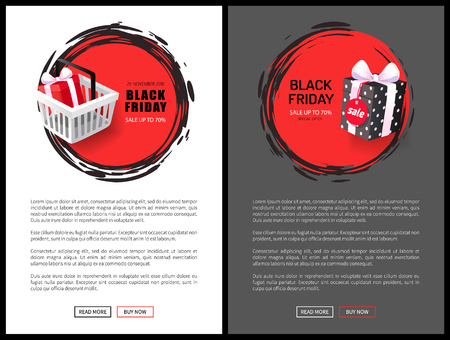 Black Friday sale web banners with basket and gift. Big discount up to 70 , price reduction, special offer tag, wrapped present vector illustrations