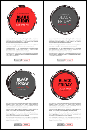 Promo advertisement sale up to 70 percent on Black Friday price tag templates, event in November. Vector discount round badges with sketch frame on website pages Illustration
