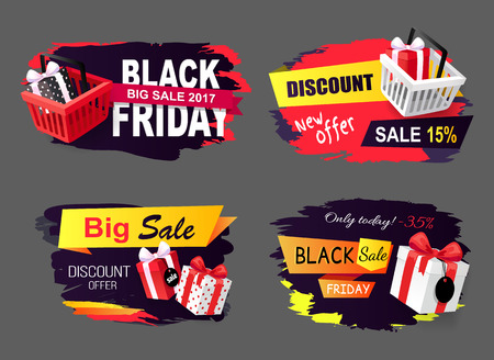 Big sale of black friday holiday, autumnal sellout vector. Discounts and sales, offers to customers, clearance commercial tricks. Gifts present boxes Vectores
