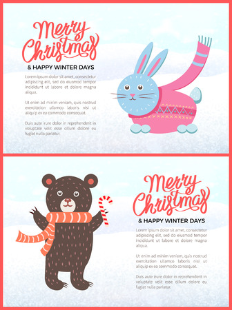Merry Christmas and happy New Year posters set vector. Animals wearing knitted clothes with ornaments. Bear with scarf and candy, bunny in sweater