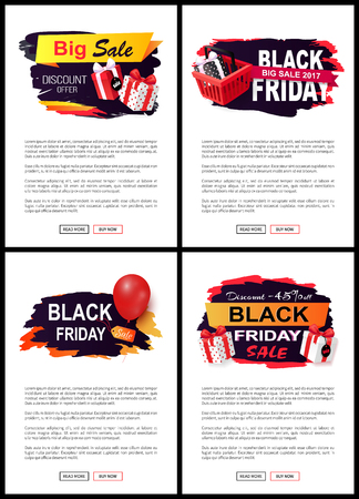 New offer on black friday, shops sellout discounts vector. Presents and gifts decorated with ribbons, commercial promotion of stores with sale prices