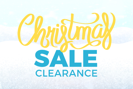 Christmas sale clearance poster with snowy landscape. Yellow and blue promotion calligraphy text on background of snow hills and snowflakes, vector advert Illustration