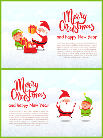 Merry Christmas elf and Santa Claus vector. Winter characters packing sack with presents for good children, helper and elderly man with white beard
