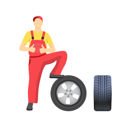 Mechanic standing on tire and showing approval sign thumb up. Serviceman in uniform fixing wheel, repair service worker vector isolated on white
