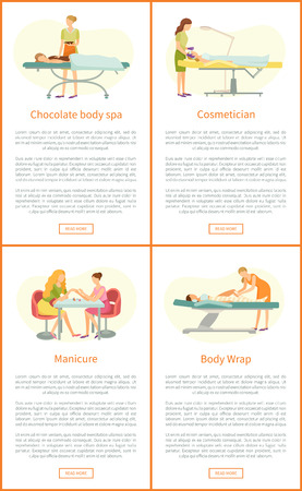Chocolate body spa and manicure making process. Posters set with text sample and clients on table. Cosmetician and wrap of legs procedures vector