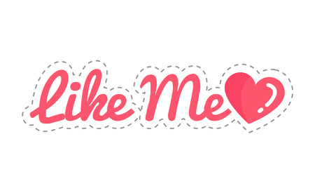 Like Me Social Network Sticker Isolated Vector