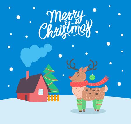 Merry Christmas reindeer poster with greeting text vector. Animal with horns, symbol of winter holiday. House and snowflakes falling down. Pine tree Ilustrace