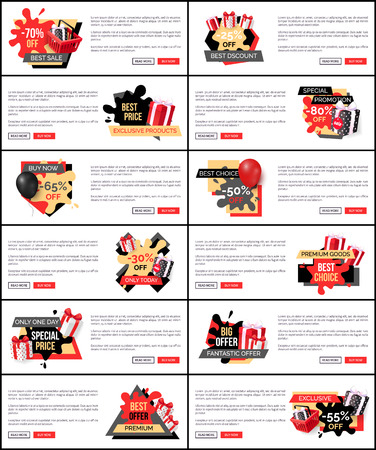 Best price special promotion, web pages with text set vector. Offer and discounts on products, purchasing of reduced cost goods. 70 and 25 percent low  イラスト・ベクター素材