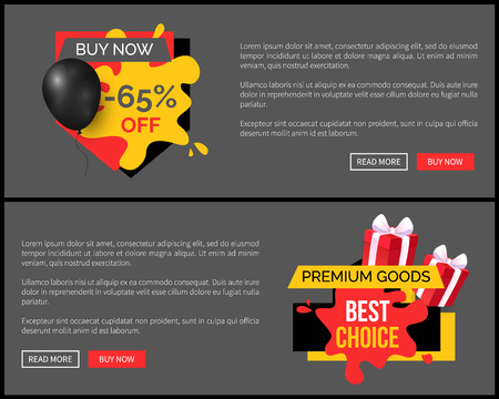 Buy now 65 percent discount, shop and store sale vector web site template. Landing page with text, inflatable balloon, commerce trading business promo Illusztráció