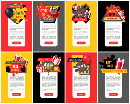 Best offer and premium products off prices banners set vector. Balloon and presents, promotional propositions and clearance to shoppers customers Ilustrace