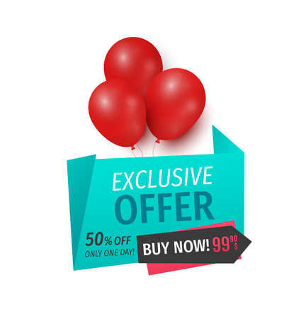 Exclusive offer 50 percents buy now, isolated banner vector. Balloons and ribbons with proposition of market, shop with reduced prices buy now items Illusztráció