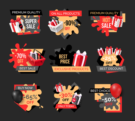 Special promotion on exclusive products sellout banners set. Presents boxes bought on sellout, purchase of goods on sale. Wholesale and retail offers 일러스트