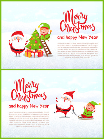 Postcard Merry Christmas and Happy New Year. Santa Claus and elf decorating Xmas tree. Riding on sleigh, winter activity, characters, vector greeting card Ilustração