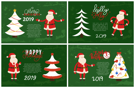 Merry Christmas and Holly Jolly Set of postcards with Santa Claus. Vector cartoon character and Xmas tree decoreted with topper star, colorful ribbons