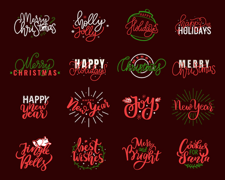 Holly Jolly quote, Merry Christmas, New Year, Happy Holidays and warm wishes, cookies for Santa lettering text, greeting cards design, Xmas celebration