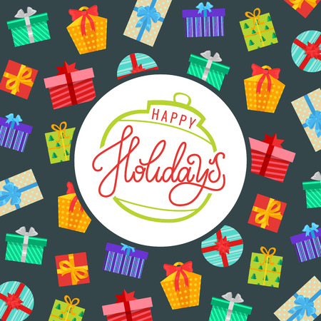 Happy holidays background, wrapped gift boxes in decorative paper. Lettering text, presents in square and round packages, Merry Christmas greeting card