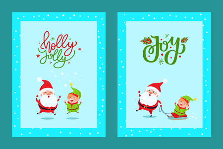Holly Jolly cute greeting card with Santa and Elf. Lovely vector clipart of Saint Nicholas and dwarf sledding, having fun depicted in turquoise color