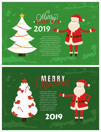 Merry Christmas greeting cards on 2019 New Year holiday. Vector postcard sample with decorated Xmas tree topped by star and bow, bells and candies, Santa Claus