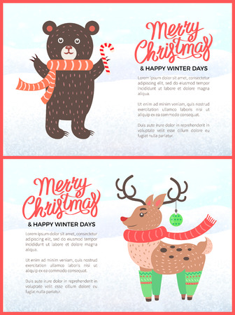 Merry Christmas holiday banners with bear with cane candy and deer wearing scarf. Winter days feast celebration, forest animals vector illustration Ilustracja