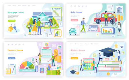 Mortgage and personal loan, student money borrowings, posters set vector. Education of people, buying car and transport, house, business start up 일러스트