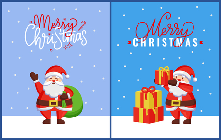 Merry Christmas greeting card with Santa Claus putting gift boxes on pile, sending best wishes to everyone with bag full of presents, vector postcard