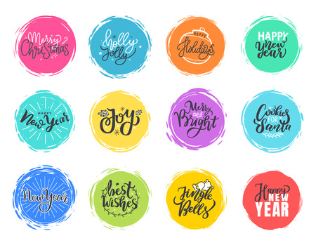 Joy and Merry Christmas, Holly Joly, happy New Year holidays lettering doodles, typography fonts for greeting cards and postcards, vector color frames