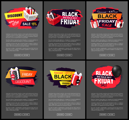 Big autumnal offer on black friday holiday sale vector. Web pages with text and boxes, presents and gifts bought in shops with discounts and offers