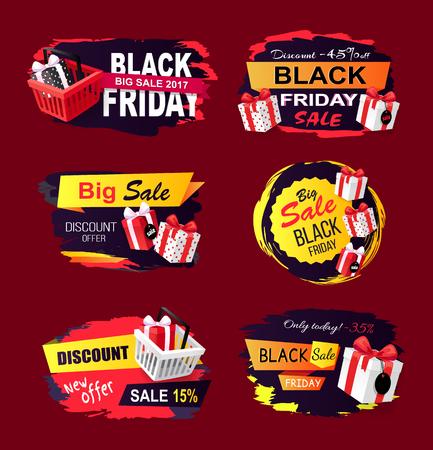 Conjunto de regalos de Banners de ofertas y ventas de Black Friday