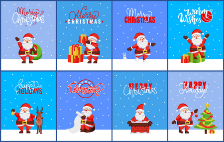 Merry Christmas and Happy New Year greeting cards 2019. Santa Claus winter activities, gifts and skating, wish list and chimney, tree and reindeer vector