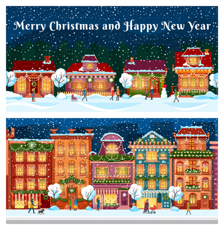 Merry Christmas and happy New Year city streets vector. People walking on road, family with kid, children pulling sledges. Building and decorated homes