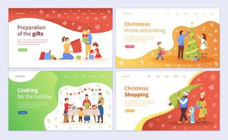 Preparación de regalos de Navidad, decoración del vector de pino árbol de hoja perenne. Vacaciones de Navidad, cenas tradicionales de cocina familiar y regalos de compra de productos. Ilustración de vector