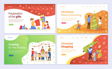 Preparazione dei regali di Natale, decorazione del vettore di pino dell'albero sempreverde. Vacanze di Natale, cena tradizionale in famiglia e acquisto di prodotti regali Vettoriali