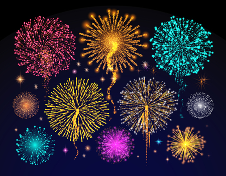 Fireworks celebration of holiday, night sky filled with light vector. Crackers and explosion in evening views, multicolor festival shines and glows Illustration