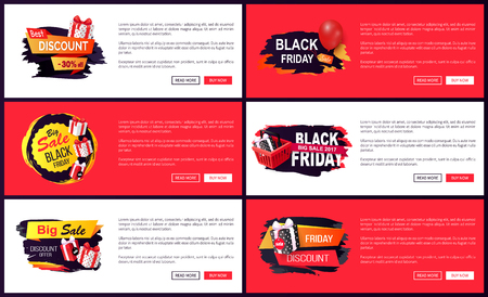 Banners with presents boxes and gifts, balloon and basket with bought items. Price reduction web sites. Discount and offer on black friday autumn vector 일러스트