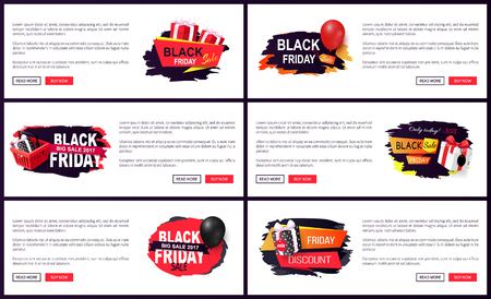 New offer on black friday, shops sellout discounts vector. Presents and gifts decorated with ribbons, commercial promotion of stores with sale prices Ilustrace