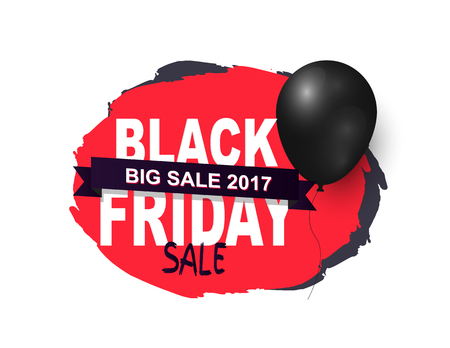 Friday Sale, Promo Label with Black Balloon Icon Illustration