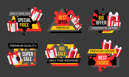 Fantastic offer and exclusive discount for shoppers banners set. Shopping on sales, promotion and marketing. Proposition to clients, shops sellout Illustration