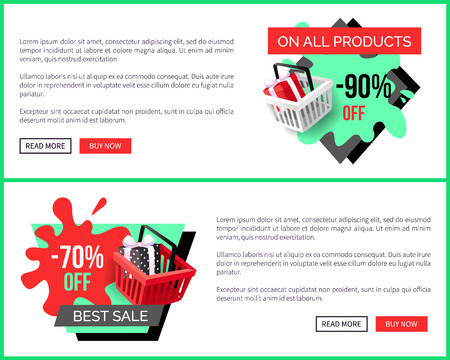 Sale on all products, 90 percent reduction, shop discounts vector landing page sample. Shopping basket with present box. Special prices sale and offers