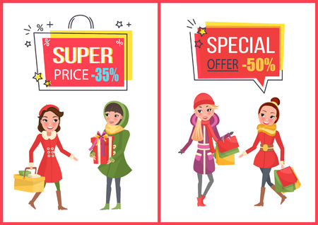 Woman shopping for Christmas, bought presents, gift boxes decorated with ribbon tape bows. Super sale and offer, reduced price banners set vector.