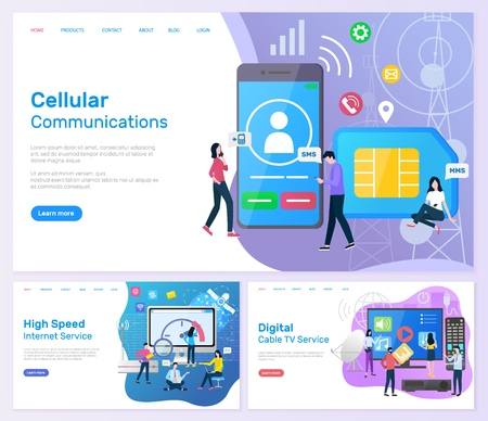 Cellular communication, high speed internet service web set vector. Digital cable tv, people enjoying modern technologies online. Smartphone and users