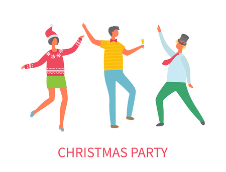 Christmas party dancing friends celebrating winter holiday vector. Smiling people wearing Santa Claus hand, having fun on disco. Happy new year event Illustration