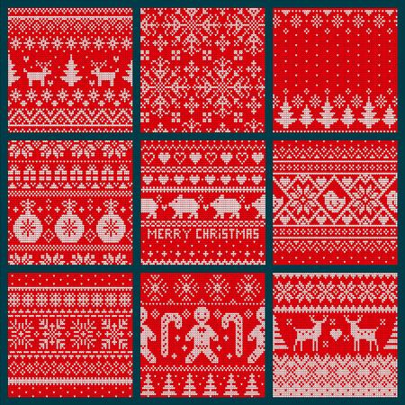 Ricamo di Natale a maglia senza giunte del reticolo stabilito vettore. Simbolo dell'albero sempreverde di abete rosso, renna con corna e ornamenti con stampa di palline decorative Vettoriali